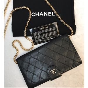 CERTIFIED AUTH. Chanel Quilted Logos Long Wallet